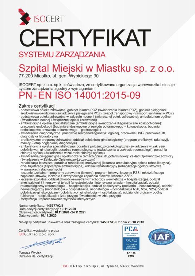 Szpotal Miejski w Miastku PN- EN ISO 14001 2015-09